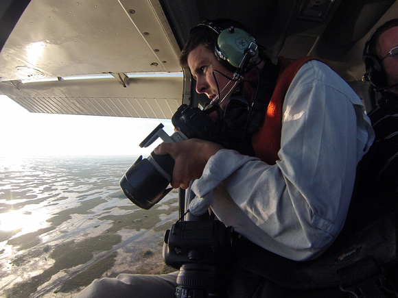 Mac Stone photographing aerials of the Everglades