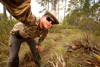 Setting up a remote-triggered camera trap for black bears in the Northern Everglades.